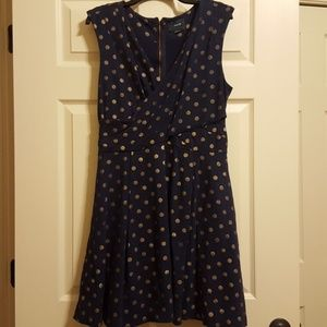 Maeve dark navy blue dress with gold dots